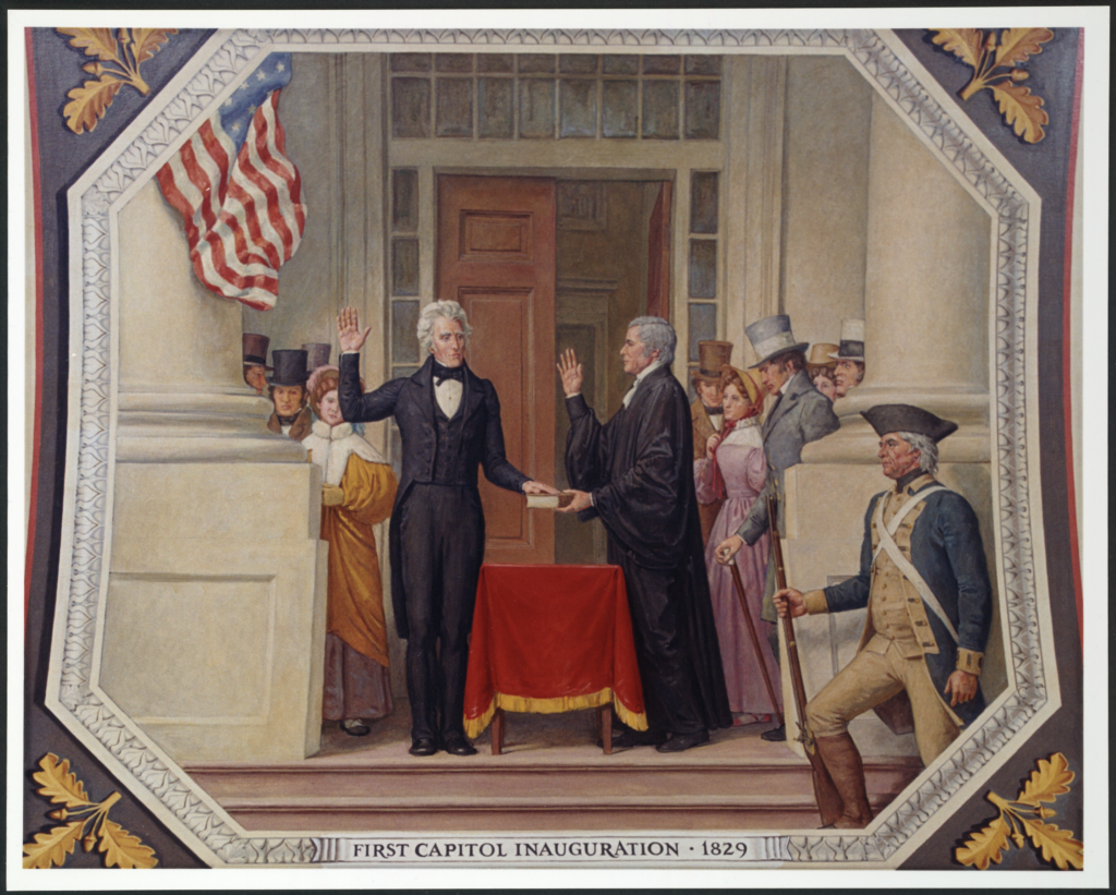 Chief Justice John Marshall administered the presidential oath of office on March 4, 1829 to Andrew Jackson on the East Portico of the Capitol building. In his 34 years as chief justice, Marshall swore in 5 different presidents at 9 inaugurations, a record that stands today.